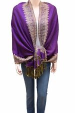 Double Side and Double Layered Reversible Pashmina Woven Shawl Scarf for Women
