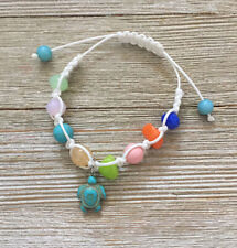 Sea Turtle Charm & Multi Color Beads with White Macrame Cord Friendship Bracelet