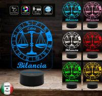 SEGNO ZODIACALE  BILANCIA Lampada a led 7 colori selezionabili  Idea regalo pers