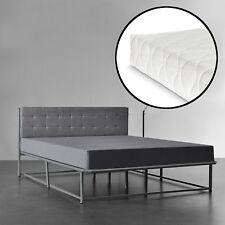 [en.casa] Lit en métal 140x200 gris avec matelas lit Lit capitonné TISSU tissu