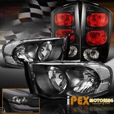 For All 2002-2005 Dodge Ram 1500/2500/3500 Black Headlights + Tail Lights + Bulb