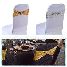 Sequin Stretch Chair Ribbon Round Buckle Banquet Wedding Decoration 15x70cm
