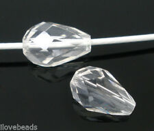 50 PCs Clear Crystal Glass Faceted Teardrop Beads 11x8mm