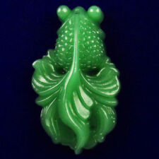 Carved Green Jade Goldfish Pendant Bead 52x31x14mm CG279