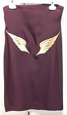 .com Rifat Ozbek vintage 1990 skirt embroidered gold wings pencil made in Italy