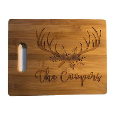 Bamboo Cutting Board Wedding Gift Personalized Deer Antler Floral Engraved Wood