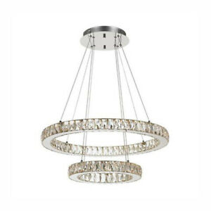 Crystal Double Ring Chandelier Pendant/ warm white and cool white all in one
