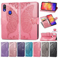 For Xiaomi Redmi 7 6 Note 7 5 Butterfly Flip Leather Wallet Stand Card TPU Cover
