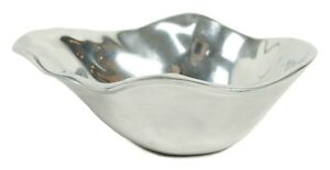 Pottery Barn Pasha India Metal Silver Organic Shape Serving Decorative Bowl Dish