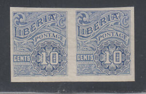 """Liberia # O101 MNH Imperf Pair MISSING """"OS:"""