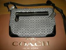 New wout tag Coach grey small c monogram bag w black patent