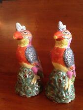 """Pair of Vintage Chinese Republic Export Porcelain Parrots 12"""" Birds Figurine"""