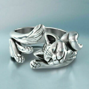 Cute 925 Silver Filled Cat Ring  Wedding Engagement Rings Women Jewelry Gifts