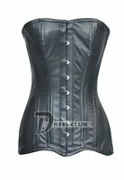 Heavy Duty Double Steel Boned Long Torso Over Bust Genuine Leather Corset