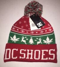 DC Shoes Mens XMAS Christmas Winter Puff Knit Red Pom Beanie - One Size