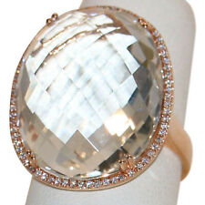 Large, Sparkly Marco Moore White Topaz & Diamond Ring in 14k Rose Gold, size 7