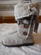 Women's MukLuks Tall Knit Boot Slippers Round Toe Tan Colors Size 9 NEW