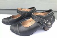 Taos Angel Women's Black Leather Mary Jane Pump Sandals Size US 7 / EU 37.5