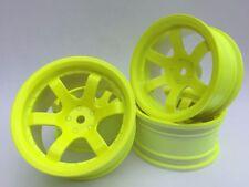 Rc Car 1/10 Drift 5 Spoke 37R Rims Wheels 9mm Offset fits Tamiya HPI YELLOW x 4