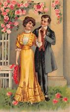 VALENTINE HOLIDAY ROMANCE FLOWERS EMBOSSED POSTCARD (c. 1910)