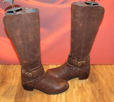 Montar a caballo de cuero marrón oscuro Real Genuino Botas Ugg Hebilla Stud 4.5 EU 37 Nuevo