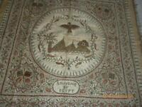 Antique Egyptian Gold Metal Thread Embroidered Tablecloth with Flags Pyramids Ea