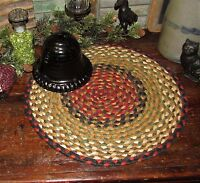 "Primitive 100% Natural Braided Jute Swatch, 15"" Trivet Placemat ROUND MAT #19"