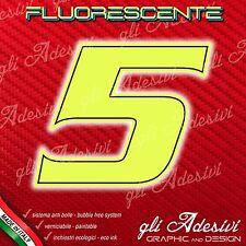 Adesivo Stickers NUMERO 5 moto auto cross gara Giallo FLUORESCENTE 10 cm