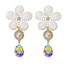 Charm Women Acrylic Diamond Insert Pearl Flower Ear Stud Pendant Earring Jewelry
