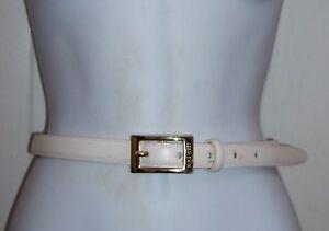 "Nine West Women's Large Thin Waist Belt Beige Leather 0.75 Width Fits 30"" to 33"""