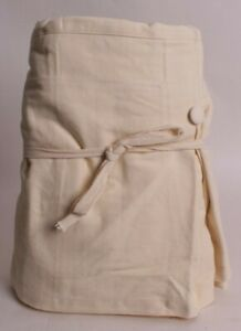 """Pottery Barn Pleated Button Bed Skirt, 14"""" Drop, Full, natural brushed cotton"""