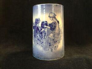Antique ~ Porcelain Flow Blue & White Gold ~ Girls With Dog Cup Mug Tankard