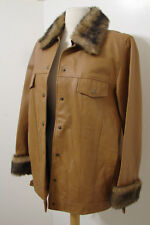 TERRY LEWIS Tan Leather Removable Faux Fur Snap Front Jacket M NWOT