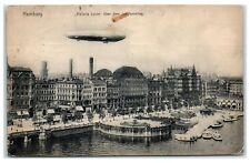 1912 Airship Zeppelin Viktoria Luise over Hamburg, Germany Postcard