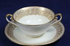ROYAL DOULTON RAISED GOLD LACE CREAM SOUP & LINER #HB3160 BETTELEY ca 1900