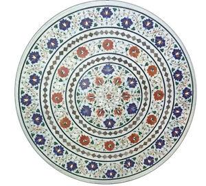 "36"" x 36"" Semi Precious Stones Inlay Handicraft Work Marble Table Top"
