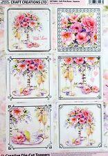 A4 Die Cut Foil Card Topper Sheet Soft Pink Roses CDT586G Paper TOLE Celebration