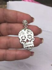 Skull Pendant Large 30 mm shiny silver on bail Make a necklace Aus stock