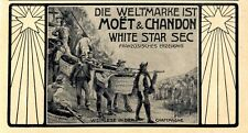 Moet & Chandon White Star Sec Weinlese in der Champagne Histor. Annonce 1904