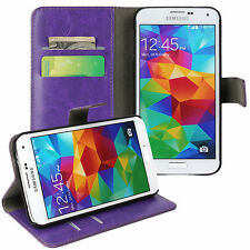 Purple Genuine Leather Card Money Wallet Phone Case Cover for Samsung Galaxy S5