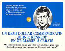 KENNEDY - DEMI DOLLAR EN OR MASSIF 18 CARATS
