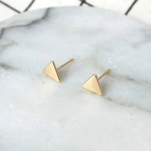 Triangle stud Earring Silver, gold, black geometric Great Gift idea FREE POSTAGE