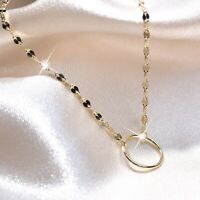 18k yellow gold gp 925 silver round circle pendant chain necklace 36 to 39cm S