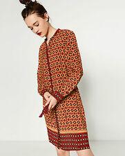 STUNING ZARA RED CONTRAST PRINT TUNIC SHIRT DRESS SIZE S