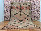 Old Boujaad Rehamna Handmade Moroccan Rug 6ft2x9ft3 Bohemian Symbolic Berber Rug