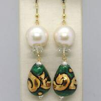 Ohrringe aus Gold Gelb 750 18K Perlen Fw Tropf Bemalt Hand Made in Italien