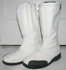 Vintage Z Boots USA Motorcycle Riding Boots White Leather Size 8.5 side zipper