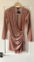 TOPSHOP BLUSH PINK VELVET WRAP DRESS UK 8 NEW