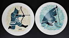 2 Melamine Canadian Art Rnamin Ornamin Ornamolo Mika Eskimo Hunt Fish Decor