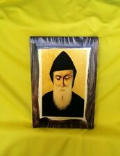 XL Handmade Saint Charbel Makhlouf Maronite monk, Lebanon wood icon 19x24cm